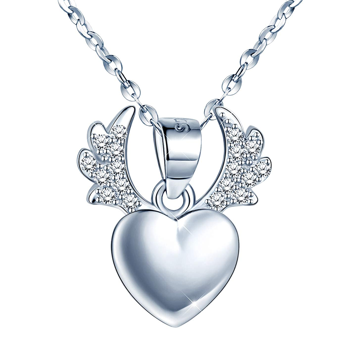 15.8+1.2 Infinite U Angels Wing Necklace Love Crystal Guardian Angel Pendant Necklace for Girl