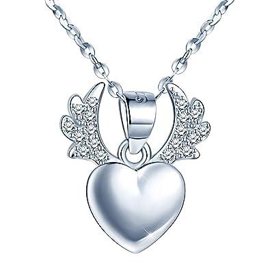 Infinite U Bar Necklace 925 Sterling Silver Adjustable Heart Bar Pendant 15.8Inch+1.2