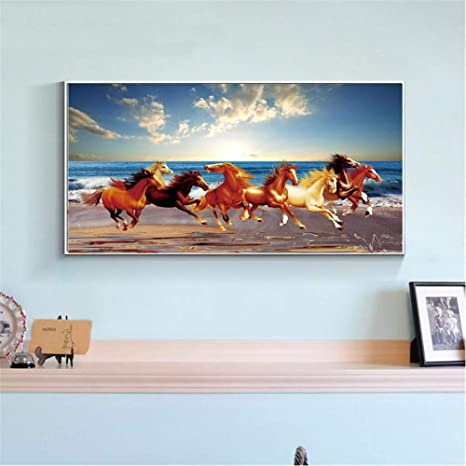 Modern Seven Running Horses Canvas Painting Wall Art Poster And Prints Picture