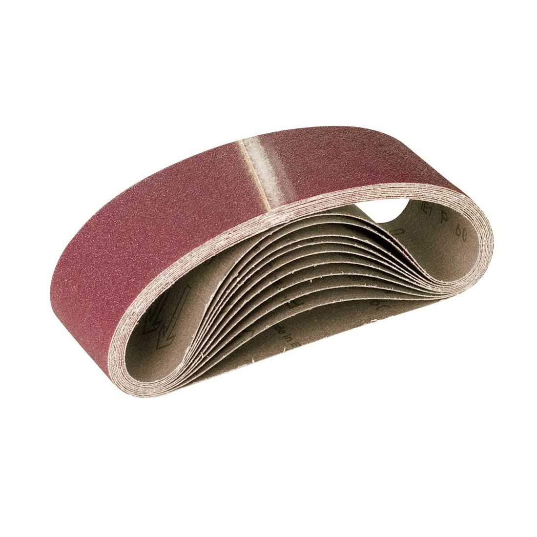 Lot de 10 MioTools Bandes Abrasives pour Ponceuse /à Bande Grain 60 533 x 75 mm
