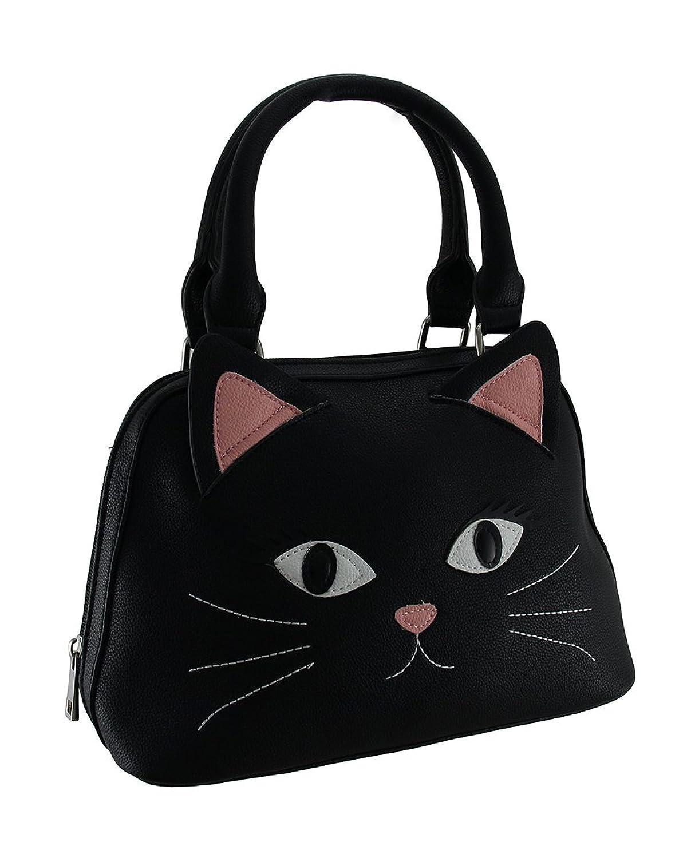 Pretty Kitty Black Cat Face Textured Vinyl Double Handle Handbag