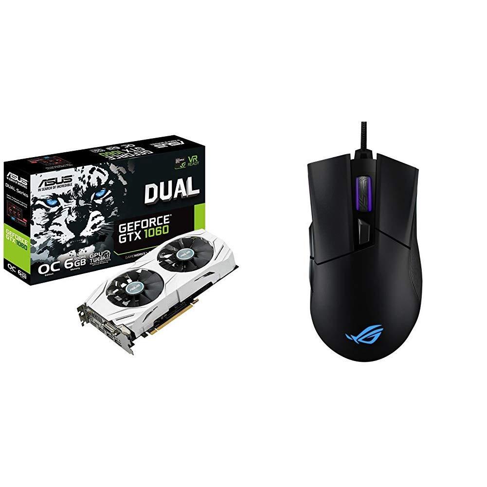 ASUS DUAL-GTX1060-O6G - Tarjeta gráfica + ROG Gladius II Origin - Ratón óptico optimizado para juegos: Amazon.es: Informática