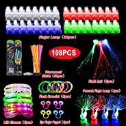 108pcs Glow Party Favors, Light Up Toys for Kids with 32 Led Finger Lights, 50 Glow Sticks, 6 Led Glasses, 6 L