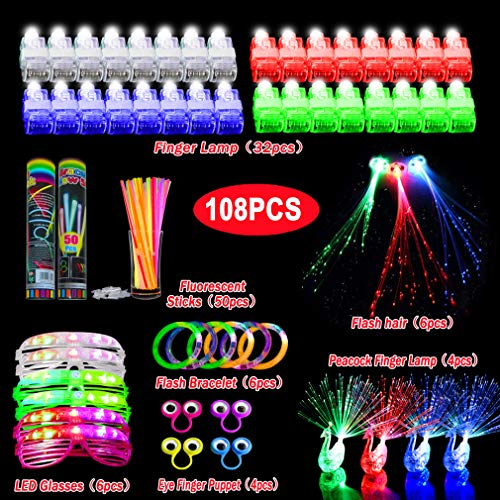 SUNMALL Rave Finger flashlights, 100 pcs Magic LED Super Bright Pointers Lacer Finger Beam Lights Bulk Light up Rings Strap on LED Fingers Toys Party Favor