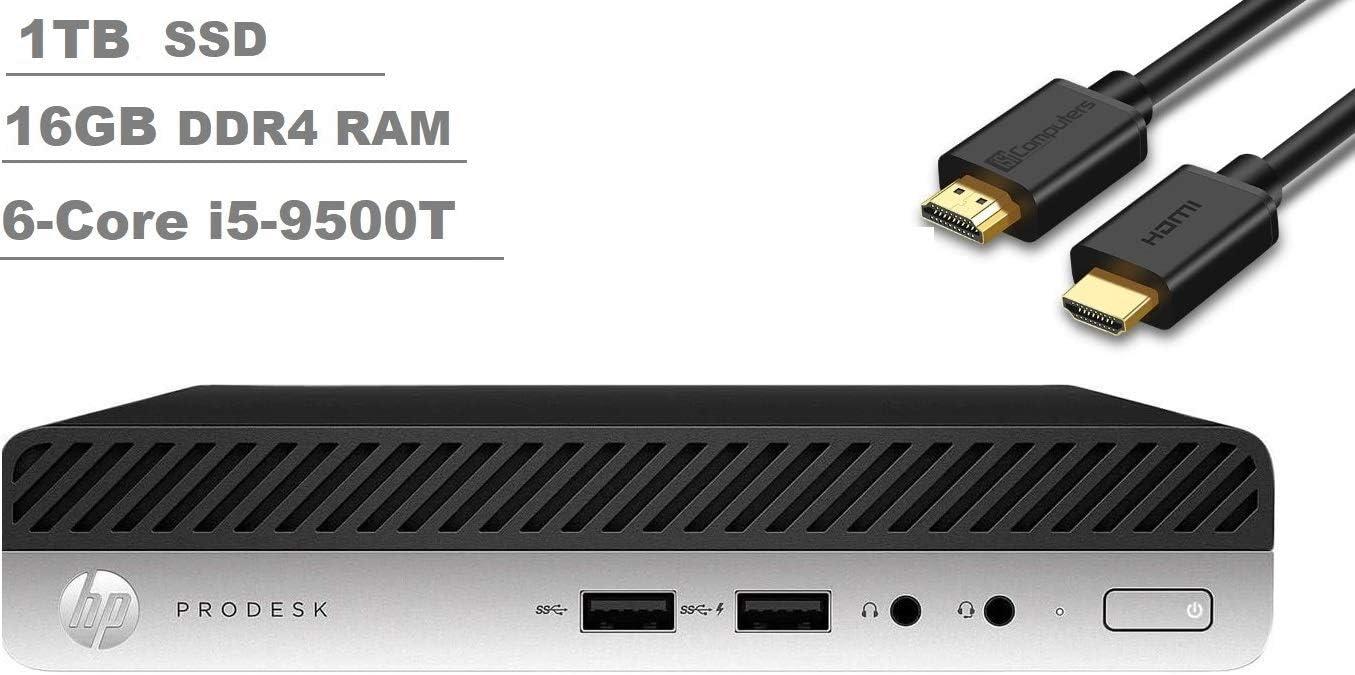 2020 HP Prodesk 400 G5 Business Tiny Mini Desktop PC (Intel Six-Core i5-9500T, 16GB DDR4 RAM, 1TB M.2 SSD) WiFi, HDMI, DisplayPort, RJ-45, Keborad+Mouse Windows 10 Pro+IST HDMI Cable