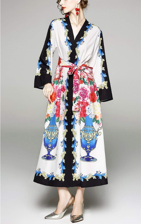 Olprkgdg Vestido de Noche Largo con Cuello en V de Manga Larga con Botones Vestido de Fiesta Largo con Vestidos de Fiesta con cinturón (Color : White, ...