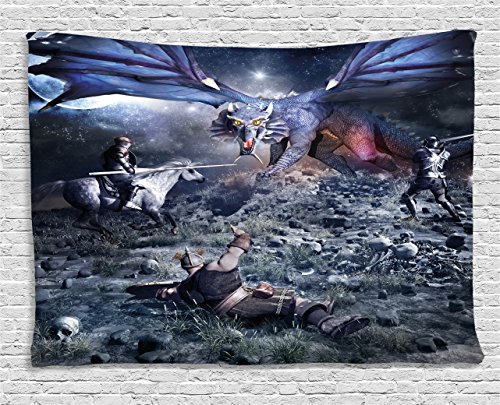 Fantasy Tapestry by Ambesonne, Dragon Fighting with Medieval Knights War Scene in Gothic Fiction, Wall Hanging for Bedroom Living Room Dorm, 60 W X 40 L Inches, Dark Blue Grey Purplegrey