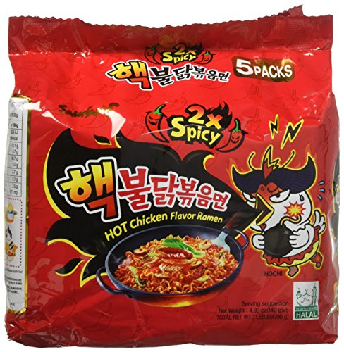 Samyang 2X Spicy Hot Chicken Flavor Ramen, 4.9oz (Pack of 5) -
