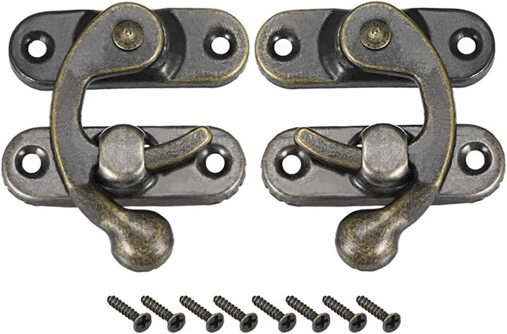 2 pcs w Screws sourcing map Antique Vintage Lock Clasp Right Latch Hook Hasp 33mm x 28mm Swing Arm Latch Plated Bronze
