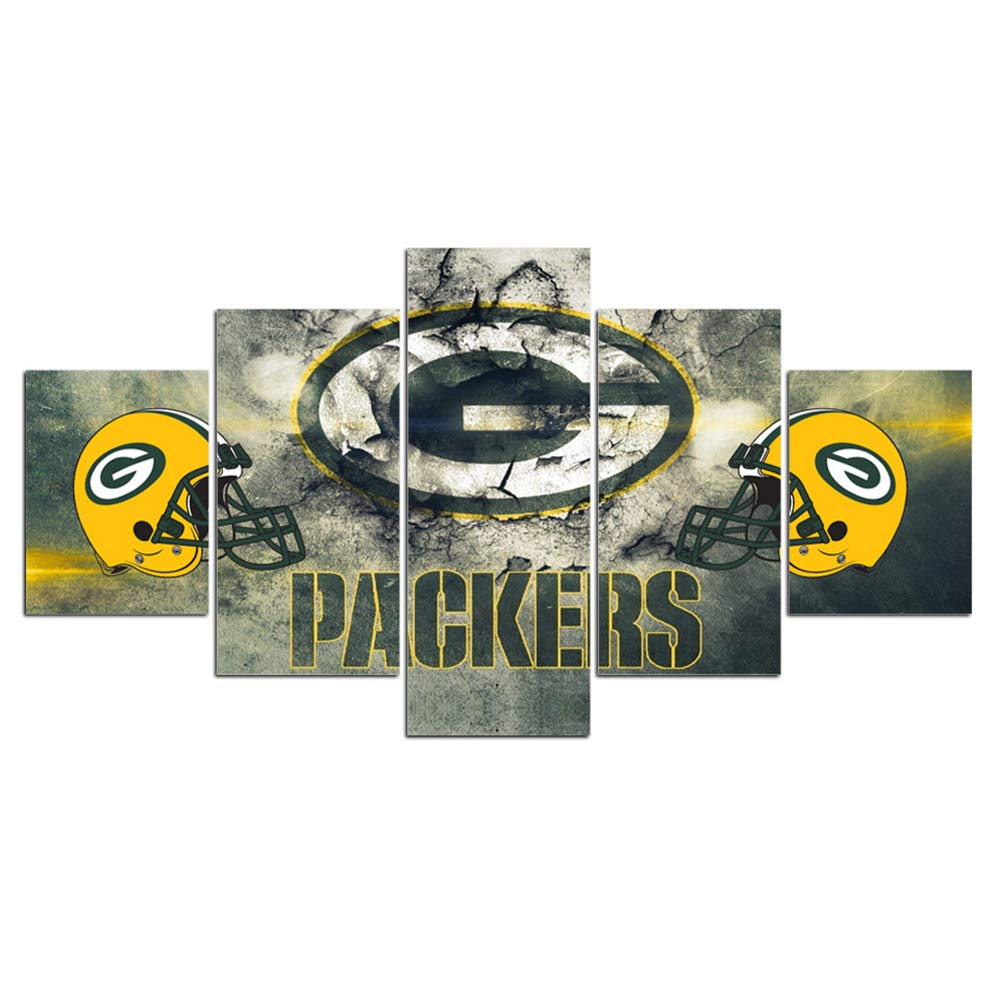 Green Bay Packers NFL Framed Wall Art Decor Modern Art Paintings 5 Piece Canvas Home Decoration Wall Picture Home Artwork American Football Prints Poster(60''Wx32''H)