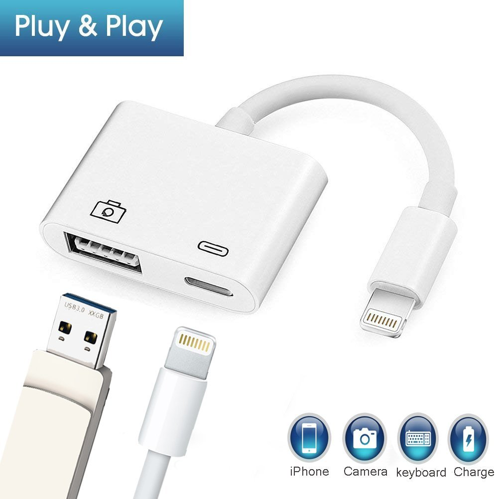Lightning to USB Camera Adapter,Lightning to USB 3.0 Female OTG Adapter Cable With Charging Interface For iPhone 8 8plus X 7 7Plus 6 6S For iPhone iPad Serie