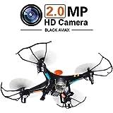 GPTOYS Black Aviax Quadricottero 6-Assi 2.4GHz RC Drone Elicottero con Rotazione 3D / Modalit Headless / Camera HD 2MP / Luci LED / SD Card 4G / SD Card Reader