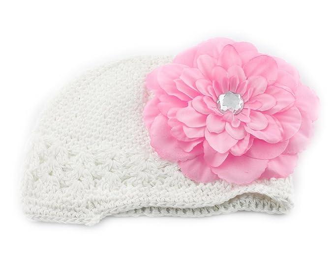 Rosa Blume Spange Kinder Haarschmuck Häkeln Hut Mütze Fr Baby