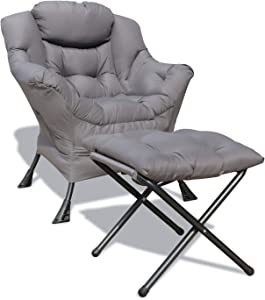 GOLDSUN Accent Chair Lazy Reclining Armchair with Removable Metal Legs and High-Density Foam, Comfy Upholstered Single Sofa Chair for Living Room, Bedroom, Office (Grey with Ottoman)