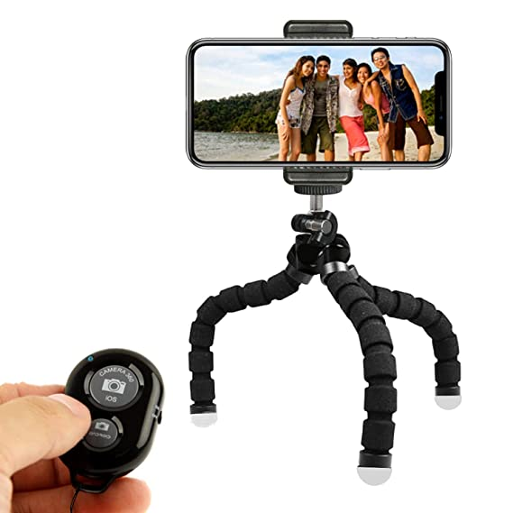 KobraTech Cell Phone Tripod Stand , Flexible Tripod for iPhone or Android  with Remote, TriFlex Mini Tripod