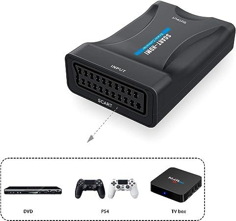 Scart a HDMI Convertidor,ABLEWE Euroconector a HDMI Adaptador 720/1080P para HDTV STB Xbox PS3 SKY Blu-ray DVD: Amazon.es: Electrónica