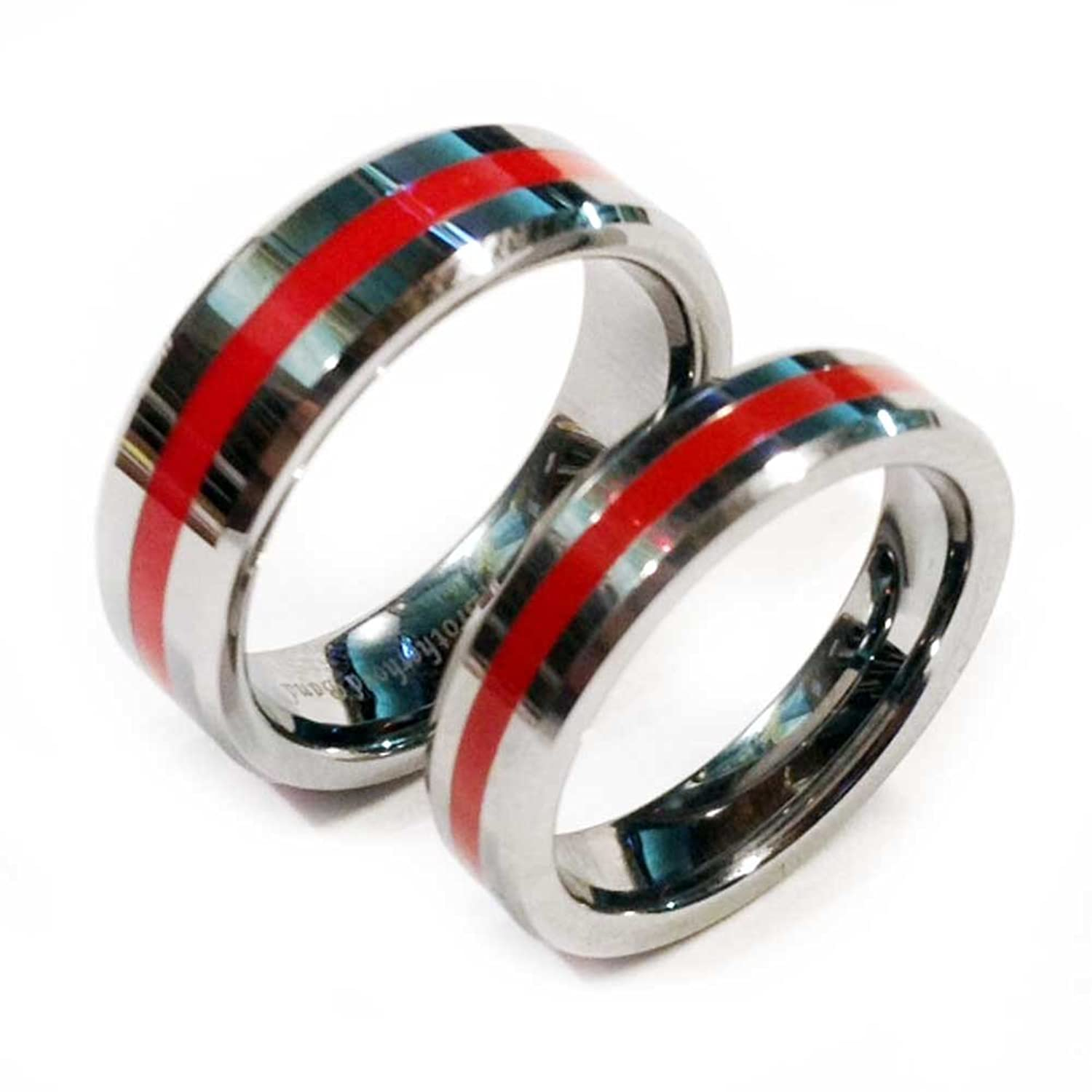 ring tungsten wedding il listing zoom black band red silver rings mens fullxfull brushed