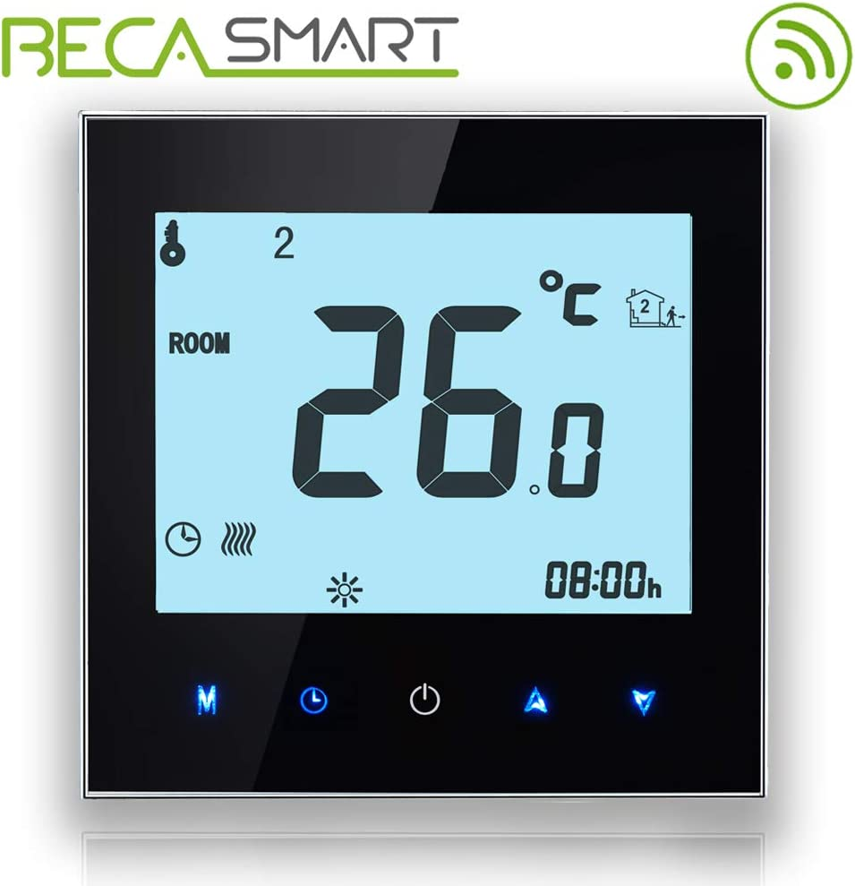 BECA 1000 Series 3/16A Pantalla táctil LCD Agua/Calefacción eléctrica/Caldera Termostato de control de programación inteligente con conexión WIFI (Calentamiento de agua,Negro)