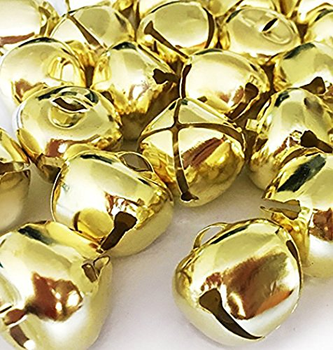 Christmas Ringing Gold Jingle Bells, 1-Inch - (300-Pack) - Beads Charms Xmas Jewellery Craft by ELITE.CITI