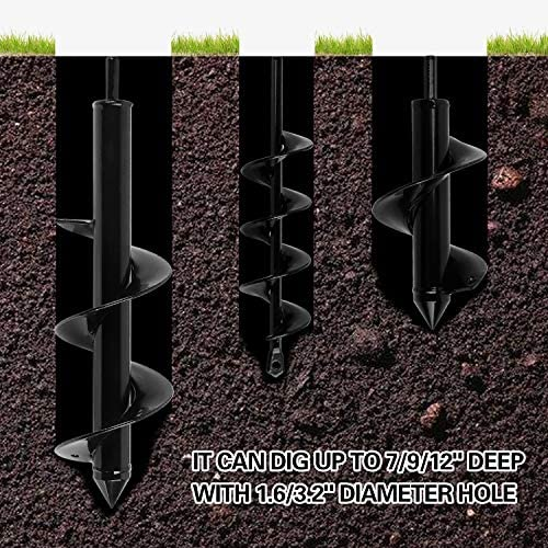 KEILEOHO 3 PCS Auger Drill Bit Set, Garden Spiral Drill Bit with Garden Gloves for Hex Drive Drill, Metal Earth Auger Bit for Planting Bulbs Tulips Hole Digger