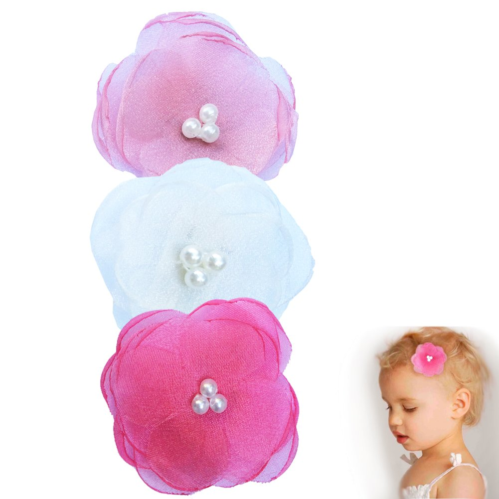 Pearl Poppy Flower Hair Clip - Girl TruStay Clip - Best NO Slip Barrette For Fine Hair (Pack2-Pink/White/Hot Pink)