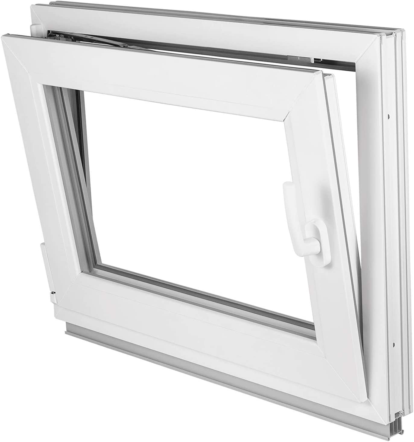BxH: 90x60 cm DIN links wei/ß Kunststoff 2-fach-Verglasung LAGERWARE verschiedene Ma/ße Fenster Kellerfenster 60mm Profil