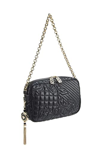 0f53dbea4632 Amazon.com  Gianni Versace Vanitas Collections Black Lambskin Quilted Shoulder  Bag   Removable Medusa Charm Pendant  Shoes