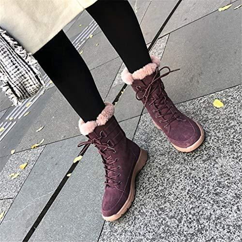Púrpura Botines Gamuza Gruesas Media Femeninos Felpa Invierno De Cálidas Botas Mujer Yan Calzados Pierna A Moda ZXdRAYd