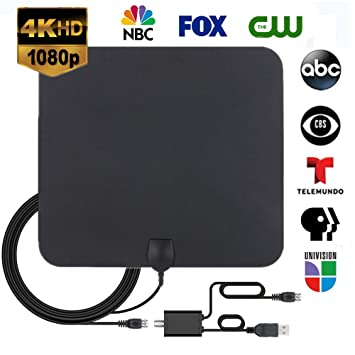 HD TV Antenna,2019 Indoor Digital HDTV Antenna 120 Miles Range 4K Ultra HD  with Detachable Amplifier Signal Booster and 16 5FT High Performance