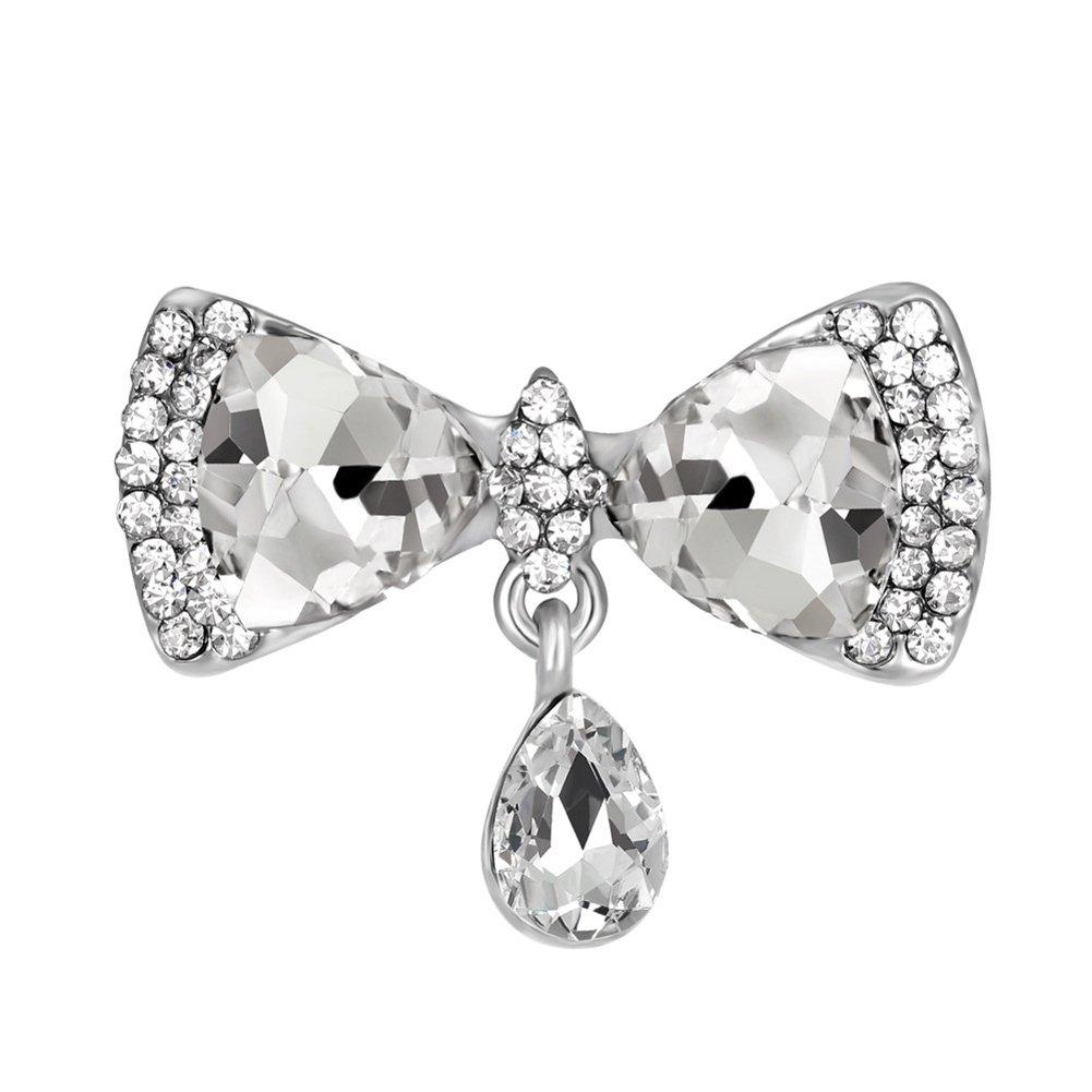 vintashion ZJ-Ab097 Bow tie Shape Crystal Rhinestone Brooch for Women
