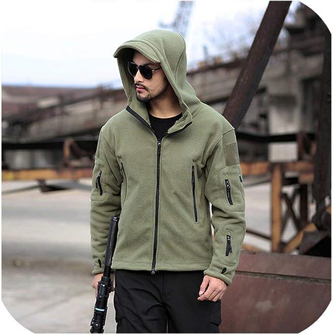 Men/'s Tactical Military Fleece Hooded Jacket Coat Casual Zipper Hoodies Outwear
