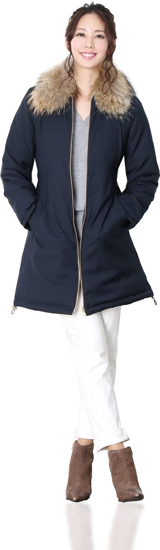 リバーシブル ダウン コート ラクーン ファー 襟付き : ネイビー M B078BTFRS3