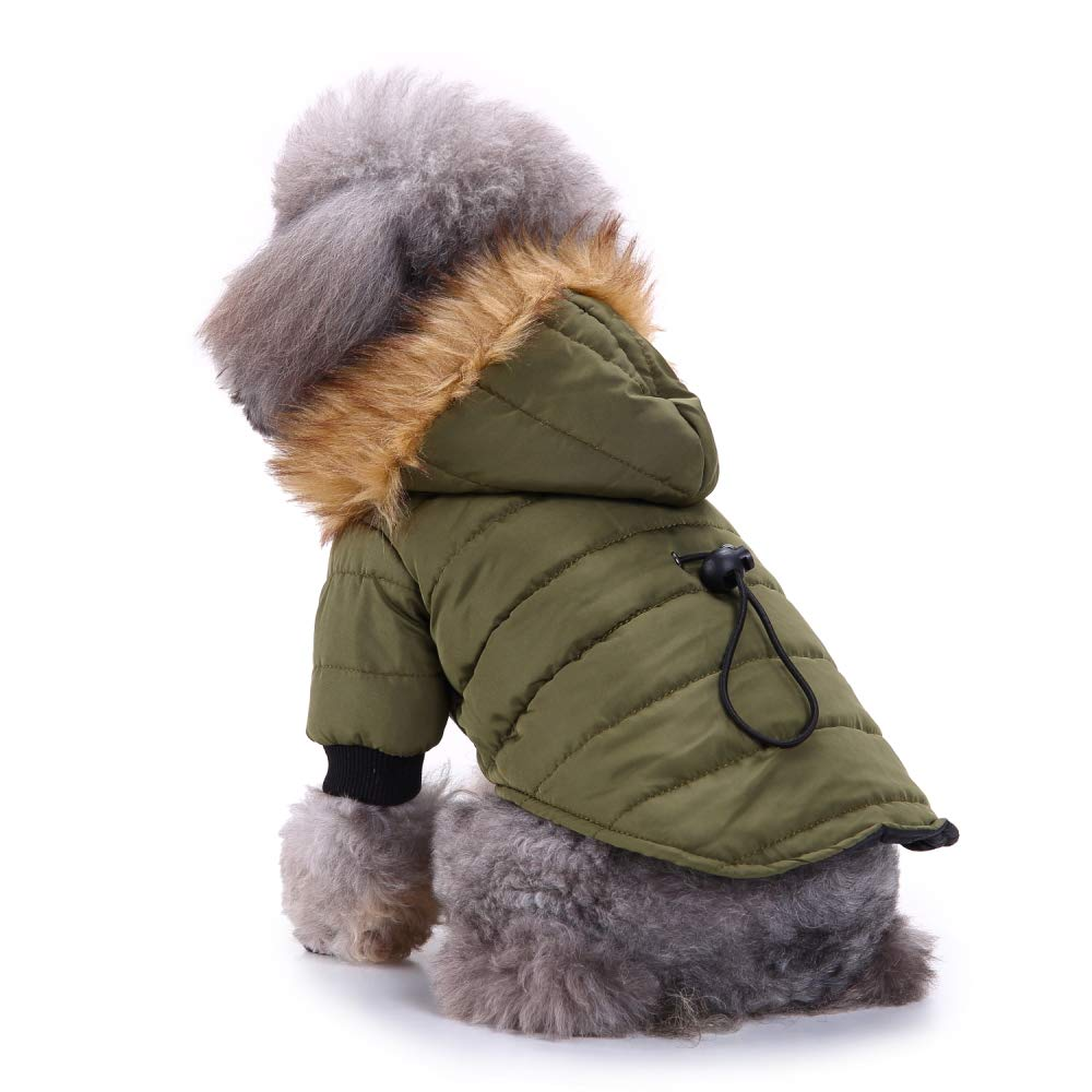 Army Green L (Back 12.99'' Chest 18.89'') Army Green L (Back 12.99'' Chest 18.89'') Dog Warm Coat Pets Cold Weather Thickening Jacket Hoodie Small Medium Large Dog Outdoor Winter Clothes Army Green