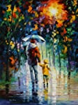 Leonid Afremov Original Image From Painting Rainy Walk With Daddy Print On Artistic Cotton Canvas Size: 30 X40