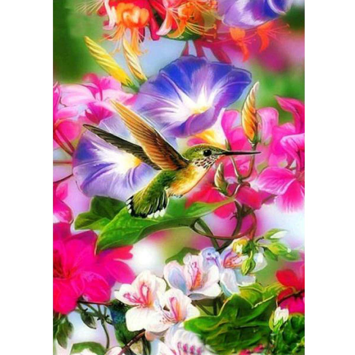 5D Diamond Painting Full Round Drill Kits for Adults Pasted Embroidery Cross Stitch Arts Craft for Home Wall Decor Hummingbird 12x16in MXJSUA