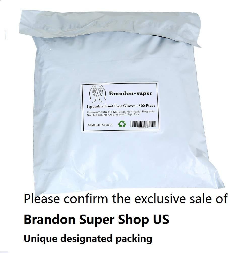 Disposable Food Prep Gloves - 500 Piece Plastic Food Safe Disposable Gloves, Food Handling, Transparent, One Size Fits Most (500 PCS)