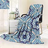 vanfan All-Season Super Soft BlanketMoroccan Portuguese Style Classic Tiles Ornaments Islamic Historical Buildings Art Blue,Silky Soft,Anti-Static,2 Ply Thick Blanket. (90''x70'')