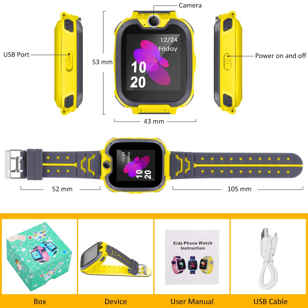 Smart Phone Watches For Kids Game Watch With Camera Touch Screen Digital Wrist Phone Watch Music Player For 3-12 Year Old Boys Girls Ipx5 Waterproof Electronic Educational Learning Toys (Yellow) by LJRYCQSSZSF (Image #7)