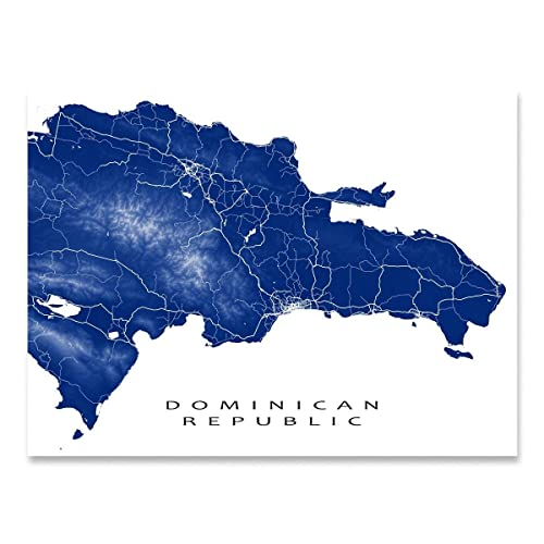 Amazon.com: Dominican Republic Map Art Print, Punta Cana, Caribbean ...