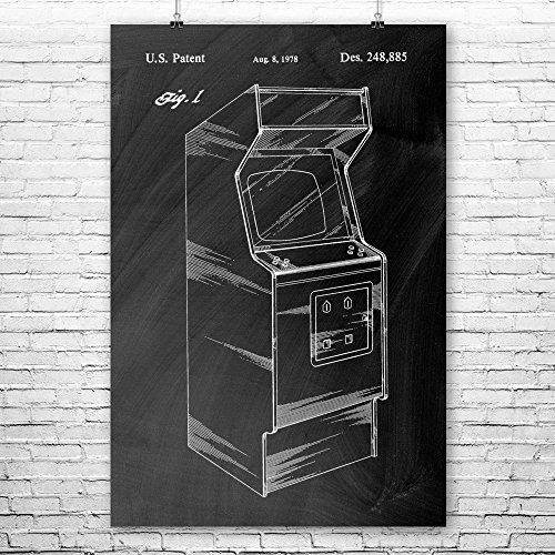 (Arcade Video Game Cabinet Poster Print, Classic Gaming, Retro Gamer Gift, Arcade Game, Vintage Game System, Pac Man Chalkboard (Black) (16