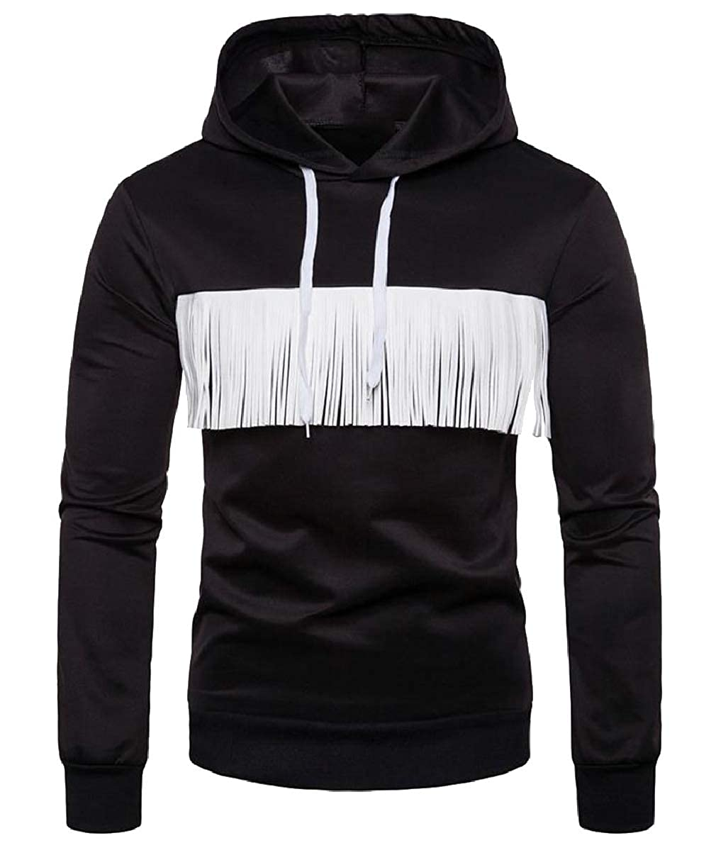 FLCH+YIGE Mens Tassel Pure Color Drawstring Hood Stylish Sweatshirt