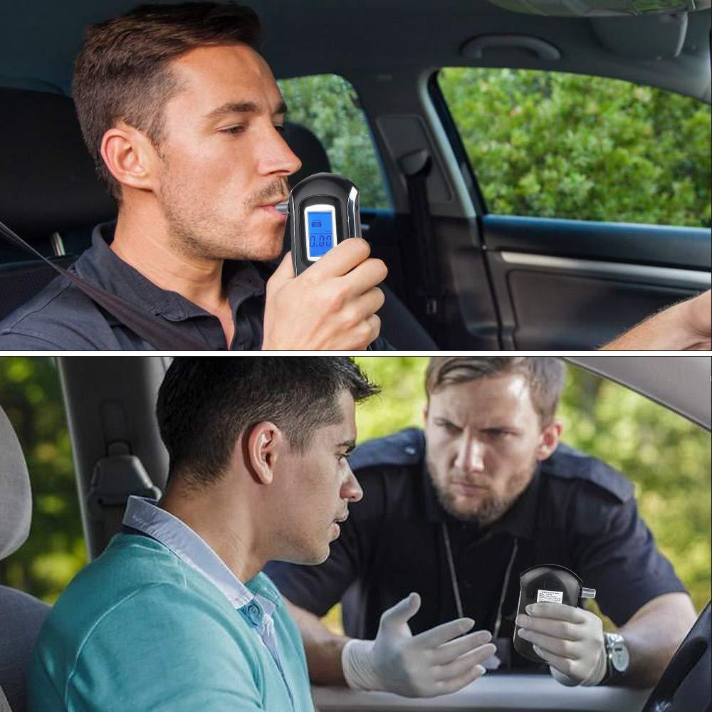 Alkohol Tester Polizeigenau Atemalkoholtester Halbleiter Sensorik Digitaler Promilletester LCD Bildschirm Atemalkoholmessger/ät mit 10 Mundst/ücke Komake Alkoholtester