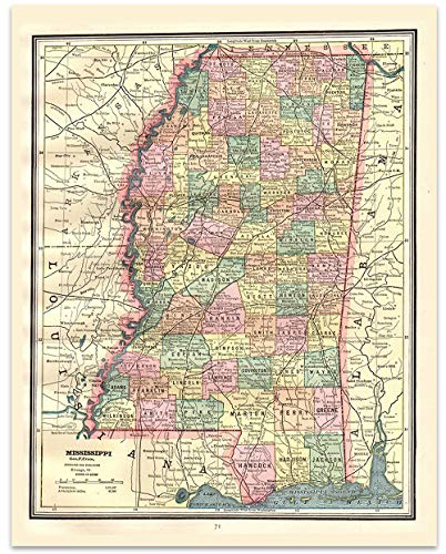 Mississippi Vintage Map Circa 1891-11 x 14 Unframed Print - Great Housewarming Gift. Misissippi Themed Office - Wall Mississippi Map