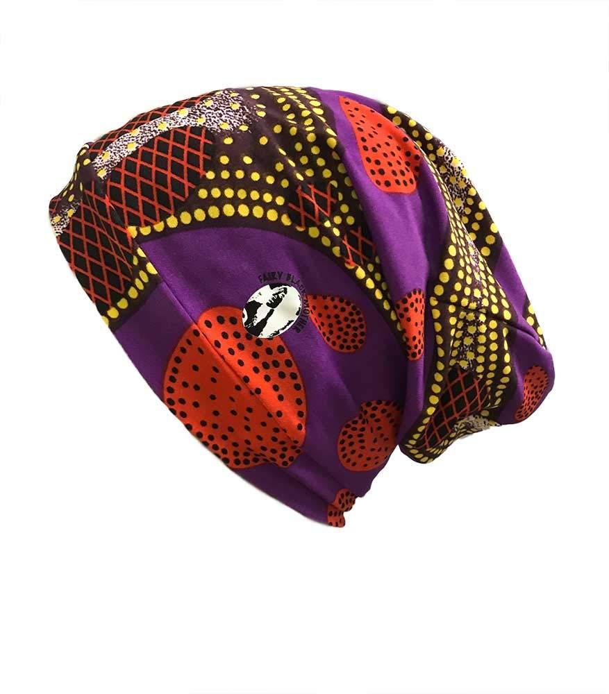 Fairy Black Mother, Day or Night Hair Cap, All Hair Types, Locs, Dreadlocks, Natural(African Purple Print, Medium)