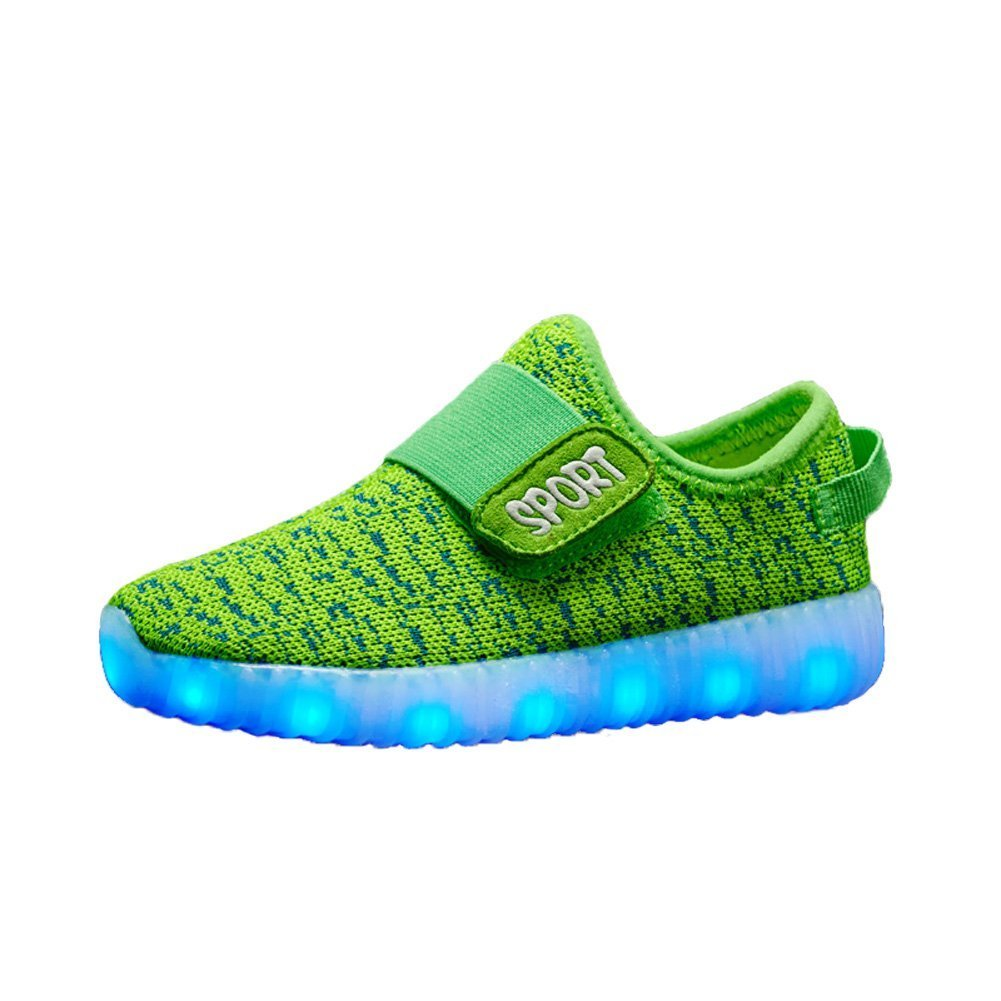 Kids Led Light Up Running Shoes for Boys Girls Breathable USB Flashing Sneakers(Green 3 M US Little Kid)