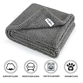 "furrybaby Premium Fluffy Fleece Dog Blanket, Soft and Warm Pet Throw for Dogs & Cats (Medium (3240""), Grey Blanket)"