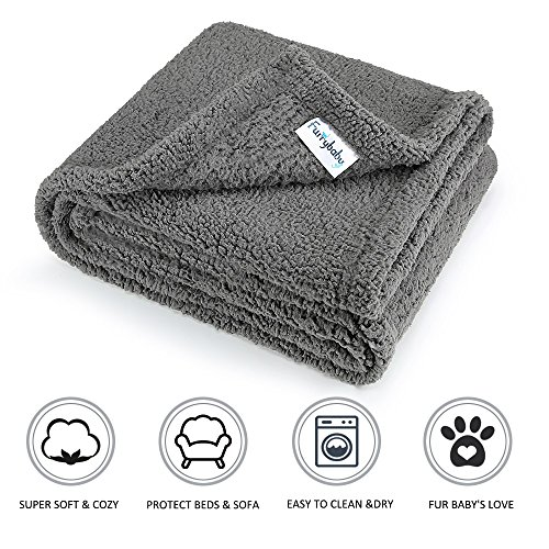 furrybaby Premium Fluffy Fleece Dog Blanket, Soft and Warm Pet Throw for Dogs & Cats (Medium 30x40'', Grey) by furrybaby
