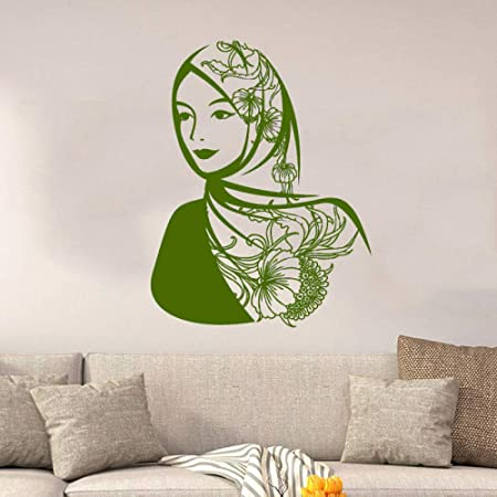 xingbuxin Vinilo Tatuajes de Pared Árabe Hermosa Mujer Pañuelo ...