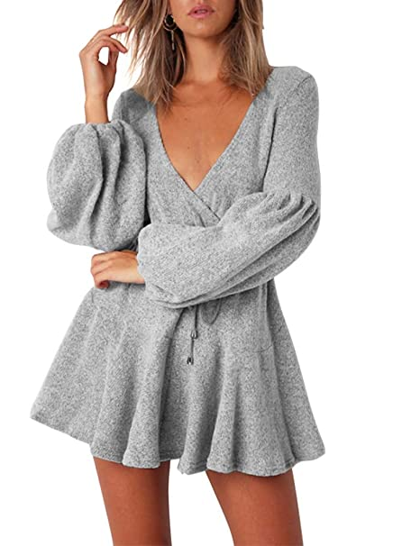 Image Unavailable. Image not available for. Color  Romacci Women Knitted V  Neck Dress Long Lantern Sleeves Ruffles ... 245b904c7