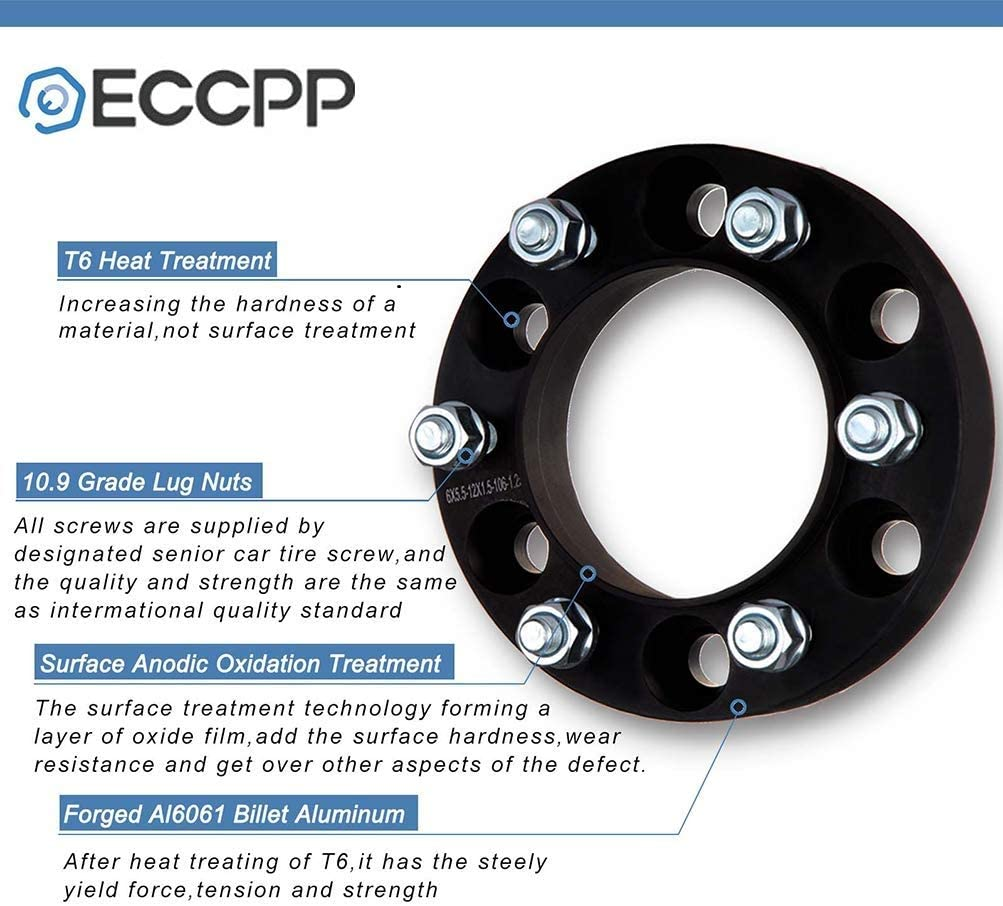 ECCPP 2X 1.5 5 Lug 5x114.3 hubcentric Wheel Adapter Spacer 5x4.5 to 5x4.5 fits for Ford Mustang Lincoln Mark 7 Mazda B2500 with 1//2 x20 Studs